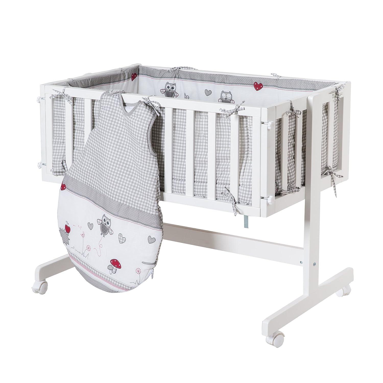 Roba Baby Cama Adam & búho, cama auxiliar con freno Ruedas, incluye colchón, cuna & Saco de dormir, diseño de cuadros gris, madera color blanco lacado: ...