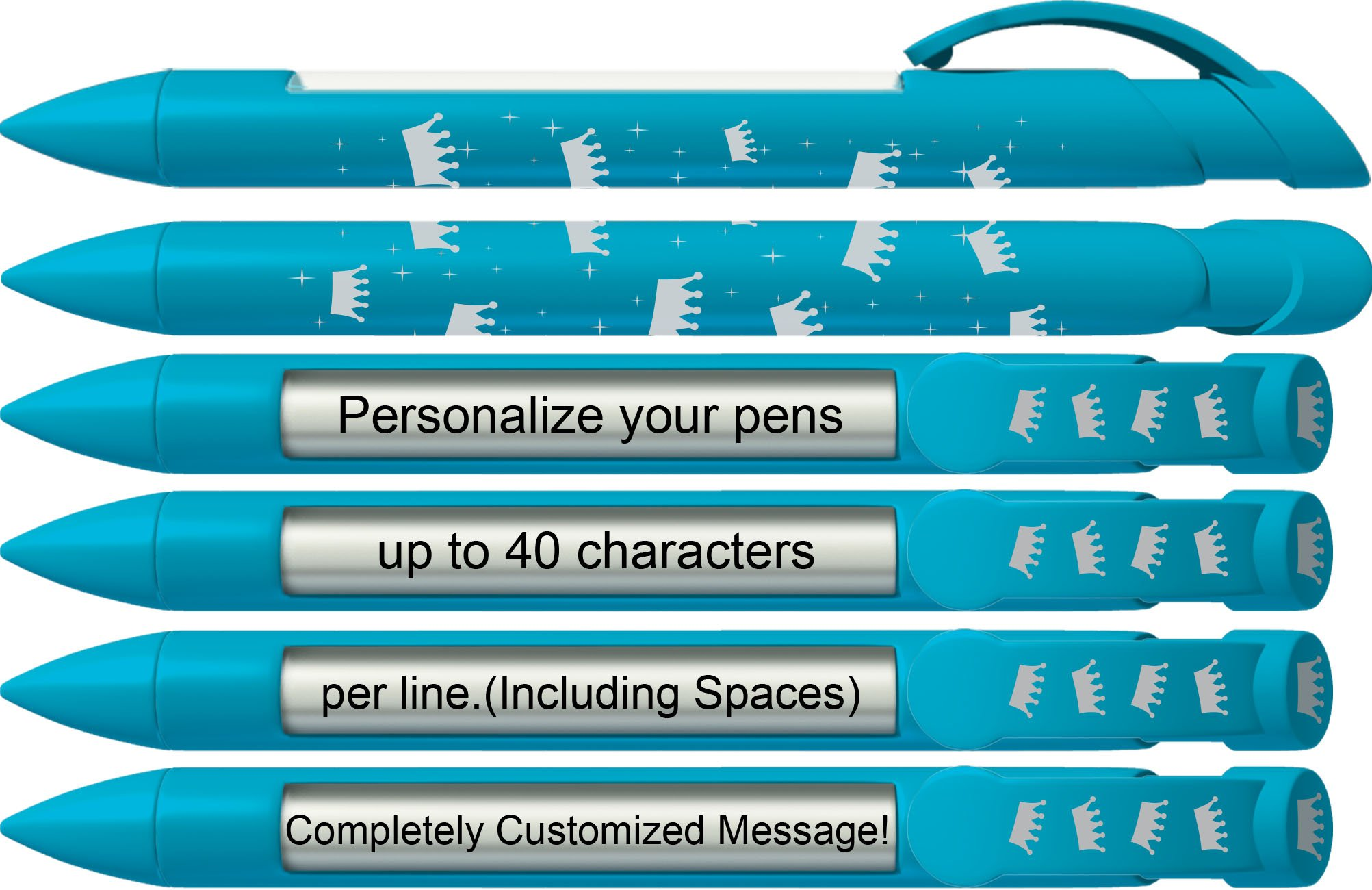 Party Pen by Greeting Pen- Personalized Blue Crown Rotating Message Pen-100 pack- P-PP-113-100