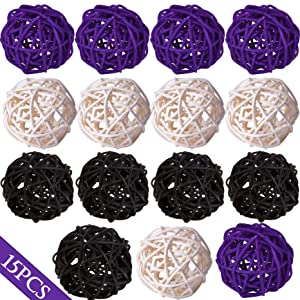 """Wicker Rattan Balls Decorative Orbs Vase Fillers for Craft Project, 15pcs 2""""Wedding Table Decoration,Themed Party,Baby Shower, Aromatherapy Accessories,Orbs Vase Fillers (15, white-black-purple)"""