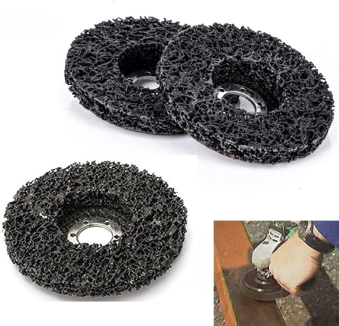 "10 Pack 4-1/2"" X 7/8""-5/8"" Black Stripping Wheel Strip Discs Clean Adhesive Removal Paint Coating Rust Oxidation für Holz Metal Fiberglass Sander Grinder Polisher Grinding Burnishing Silicon Carbide"