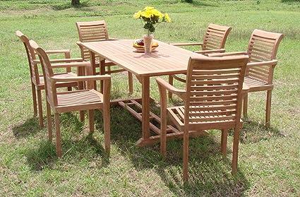 New 7 Pc Luxurious Grade A Teak Dining Set   71u0026quot; Mas Rectangle Table