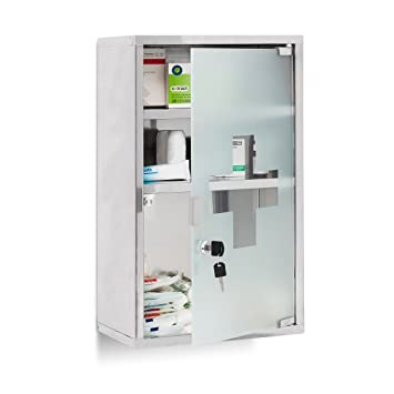 Relaxdays EMERGENCY Medicine Cabinet XL, Stainless Steel, 50.5 X 30 X 18 Cm  With