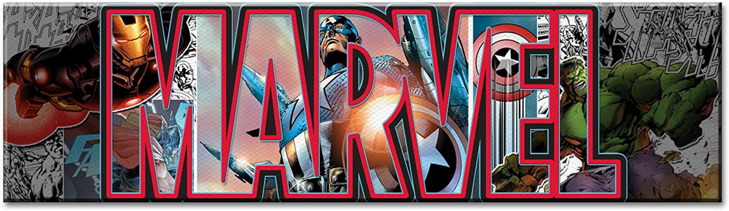 Silver Buffalo AV2891 Marvel Canvas Wall Art Avengers Letters, 30 x 12 inches