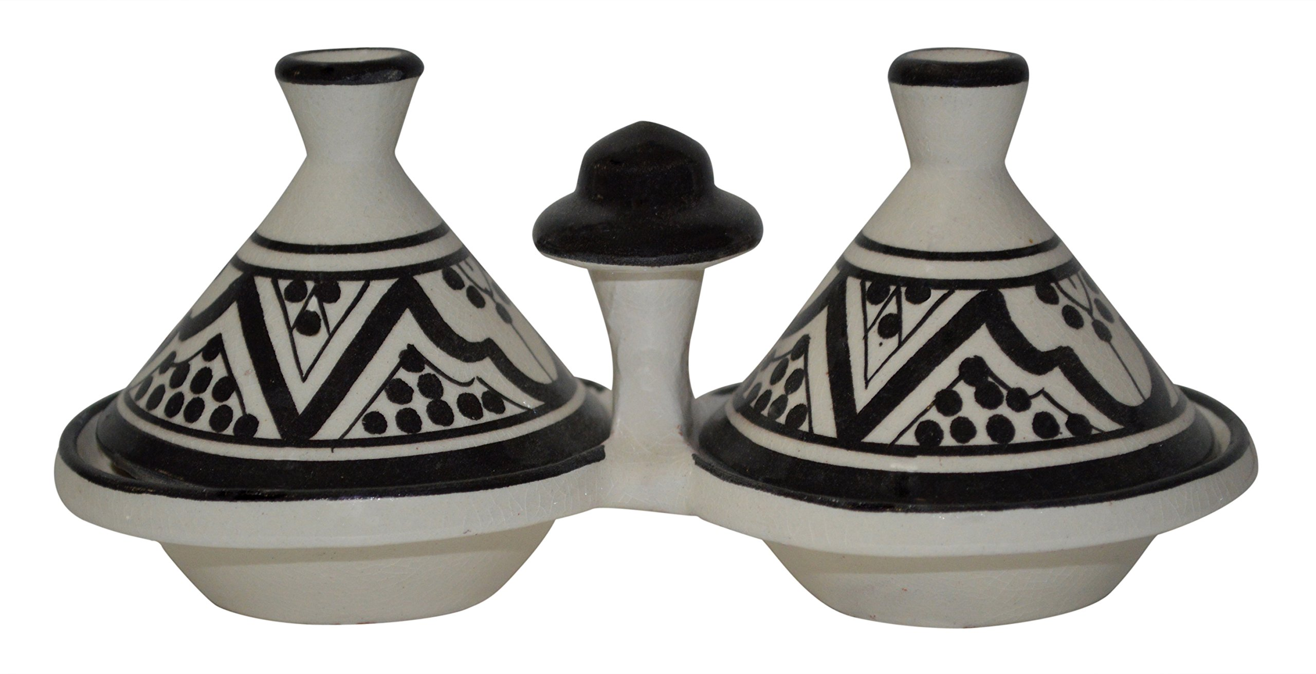 Moroccan Handmade Tagine Double Spice Holder seasoning Container
