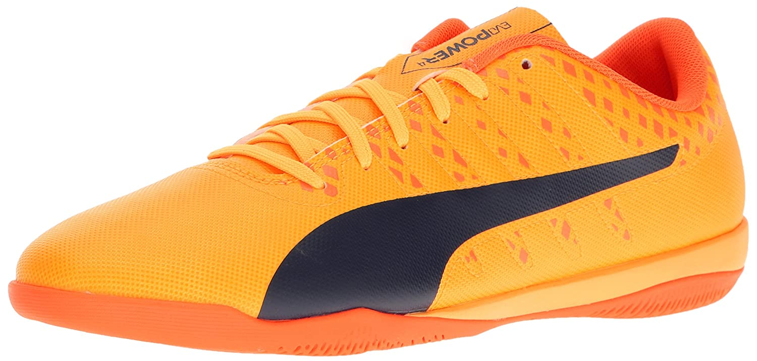 PUMA Men's Evopower Vigor 4 IT Soccer Schuhe, Ultra Yellow-Peacoat-Orange Clown Fish, 4.5 M US