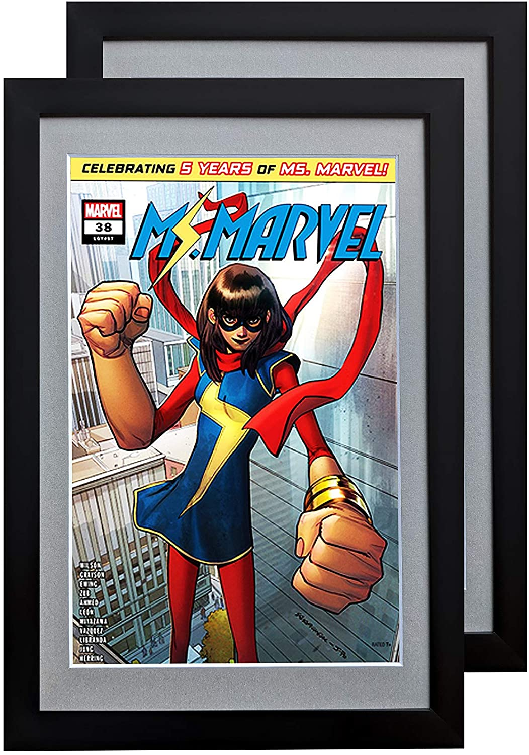 Comic Book Frame 2 Pack, Acid-Free Matting, 98% Ultraviolet UV Polycarbonate Protection, Fits Comics up to 6 3/4