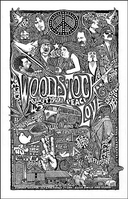 woodstock collage with janis joplin grateful dead jimi hendrix santana and more - Grateful Dead Coloring Book