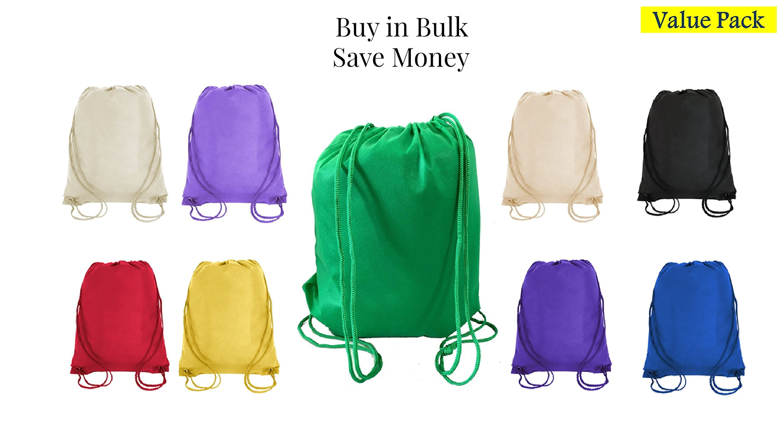 Value Pack- 200 Pack Mix Color Drawstring Bags, Small Size Junior Cinch Packs, Non-Woven Backpack (Mix) (Mix)