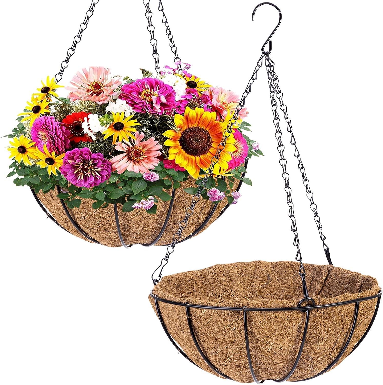 2PCS Metal Hanging Planters Basket with Coir Liner, 12 Inch Round Wire Plant Hanging Basket with Chain, Porch Decor Flower Pots Hanger Garden Decor Indoor Outdoor Watering