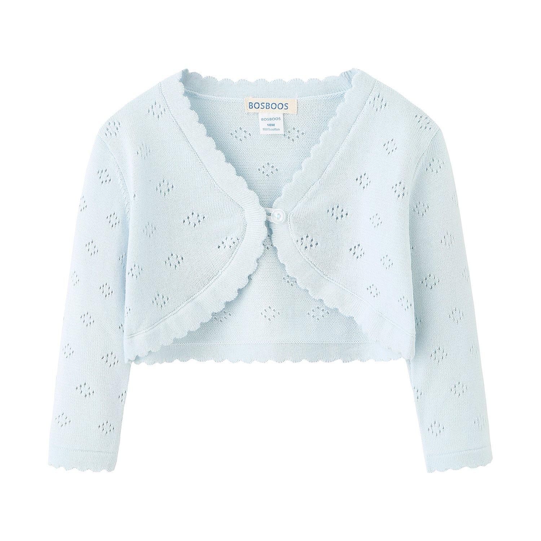 Little Girls' Long Sleeve Cotton Solid Knit Bolero Cardigan Shrug (3T, Blue)
