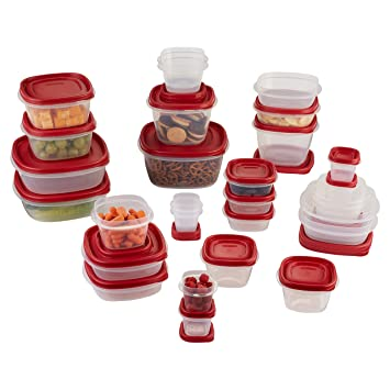 rubbermaid 60piece easy find lid food storage container set red