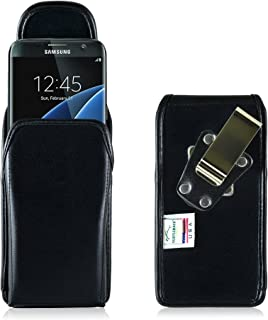 product image for Turtleback Belt Case Compatible with Samsung Galaxy S7 Edge Black Vertical Holster Leather Pouch with Heavy Duty Rotating Ratcheting Belt Clip Made in USA
