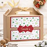 Personalised Large Christmas Eve Box   Kraft Brown   Gold Ribbon   Party Gift Bag   Red Pattern Design