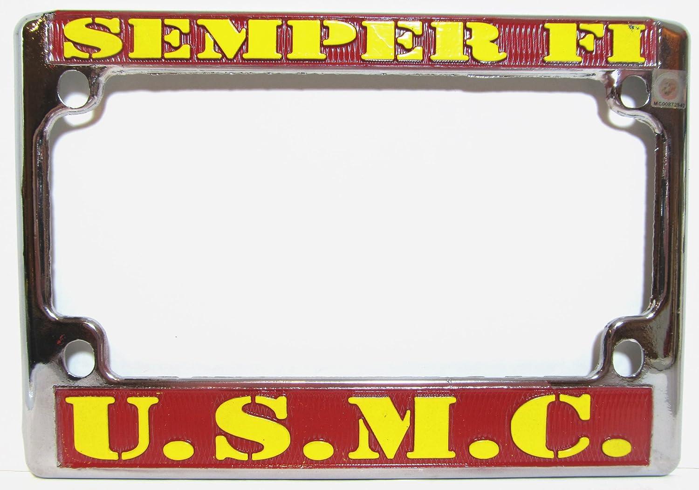 US Marines Chrome Motorcycle License Plate Semper Fi Frame USMC