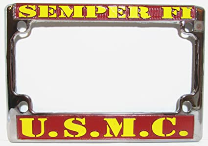 Amazon.com: US Marines Chrome Motorcycle License Plate Semper Fi ...