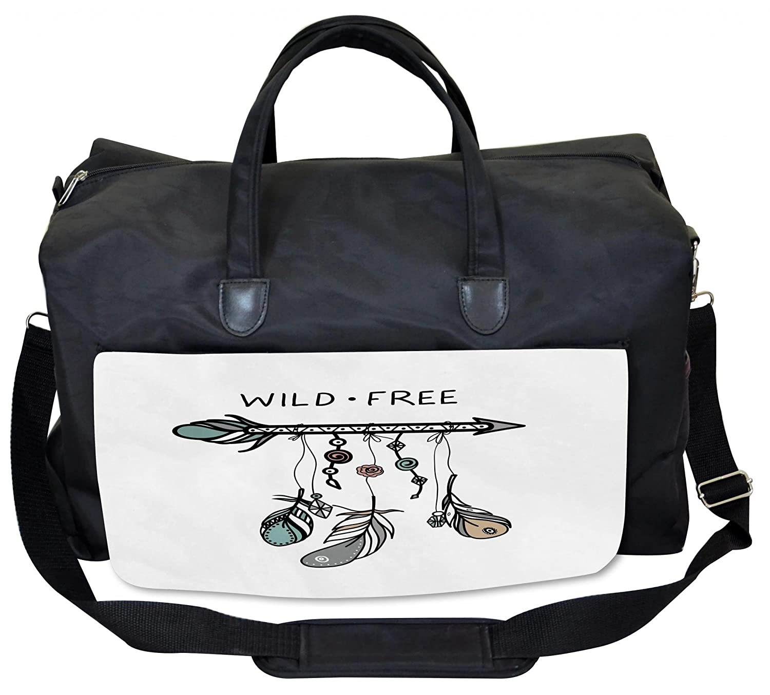 Large Weekender Carry-on Ambesonne Colorful Gym Bag Feather and Old Key