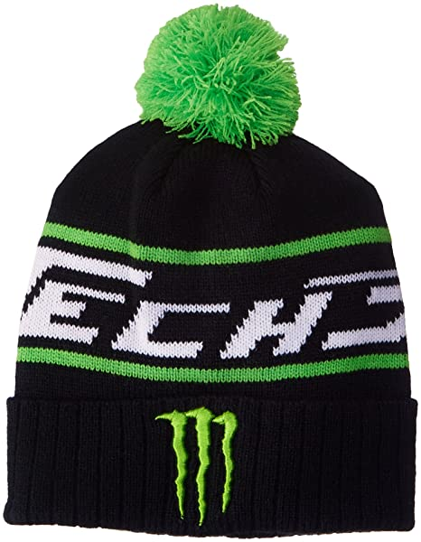 1991108f1fb Amazon.com  Monster Tech3 Energy Green Pompom Black Beanie Hat ...