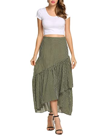 d5dfac3d5 Zeagoo Women A-line Irregular High-Low Ruffle Pleated Stripe Casual Flare  Maxi Skirt
