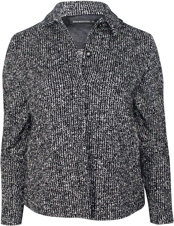Evelin Brandt Berlin Womens Tweed Jacket Plus Size Black//White 44
