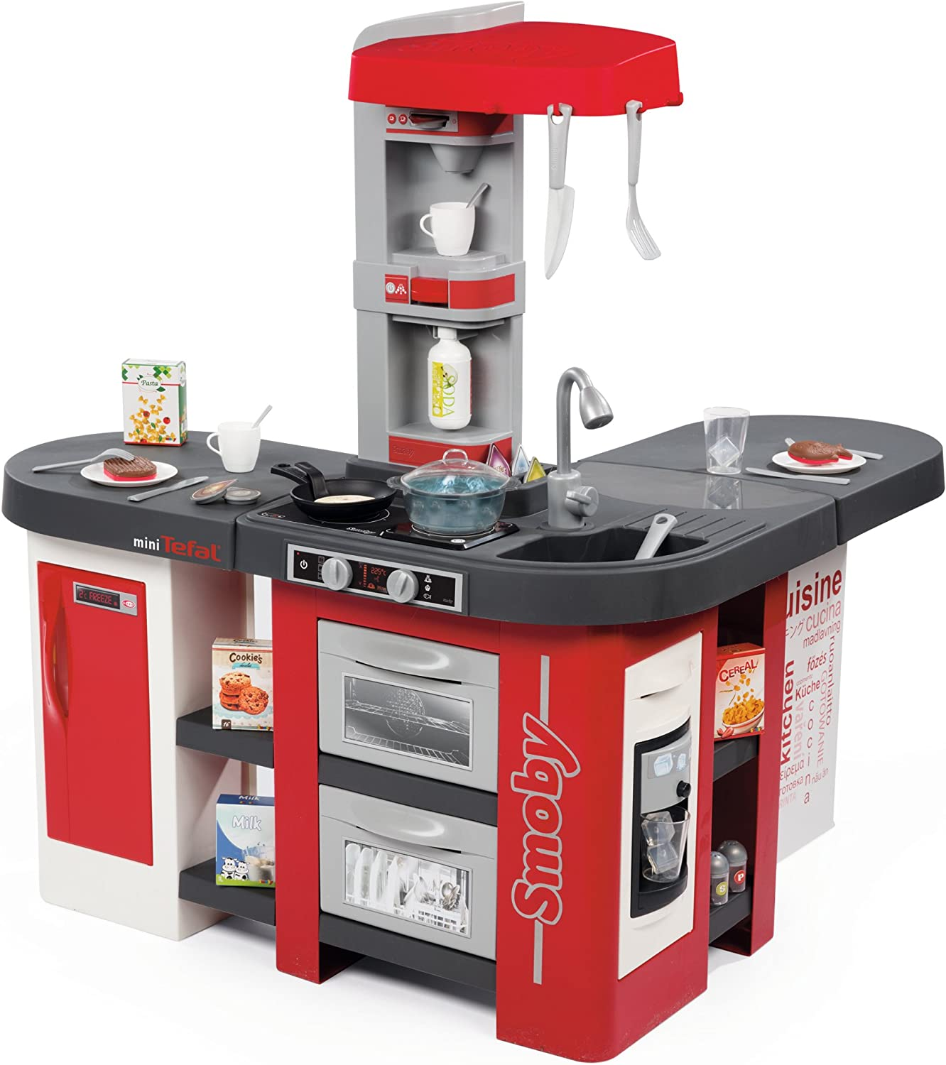 SMOBY- Kitchen Studio XXL Bubble with 10 Accessories, simulates the effect  of boiling water, refrigerator, oven, dishwasher, ice dispenser, coffee