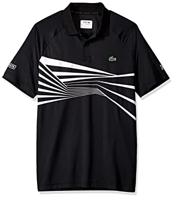 8aae0001 Lacoste Men's Sport DJOVOKIC Short Sleeve Ultra Dry Graphic Polo,  Black/White, Small