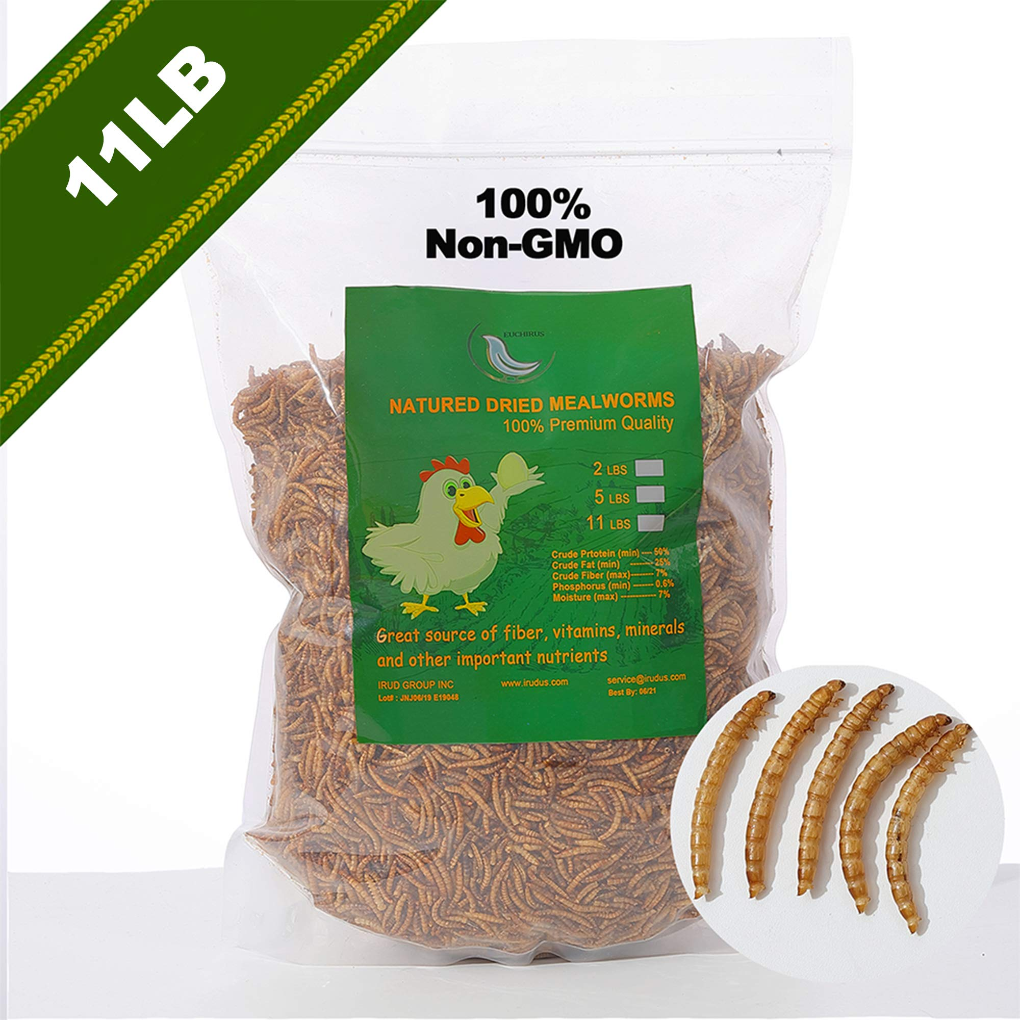 WAMSOFT Non-GMO Dried Mealworms - Treats for Birds Chickens Hedgehog Hamster Fish Reptile Turtles ... (11LB) by WAMSOFT