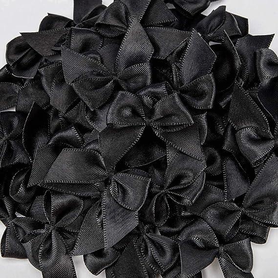 Humphrey's Craft Black Mini Satin Ribbon Bow Flowers