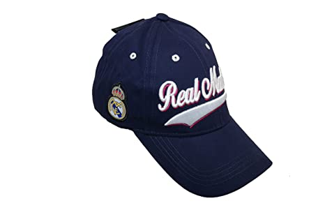 BLUE REAL MADRID C.F. HAT CAP CURVED BILL ADJUSTABLE EMBROIDERED TRIM
