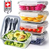Pohl+Schmitt Glass Meal Prep Containers - Food Prep with Lids and Utensils, Meal Prep - Food Storage Containers Airtight - Lunch Containers Portion Control Containers BPA-Free (5 Pack,30 Ounce)