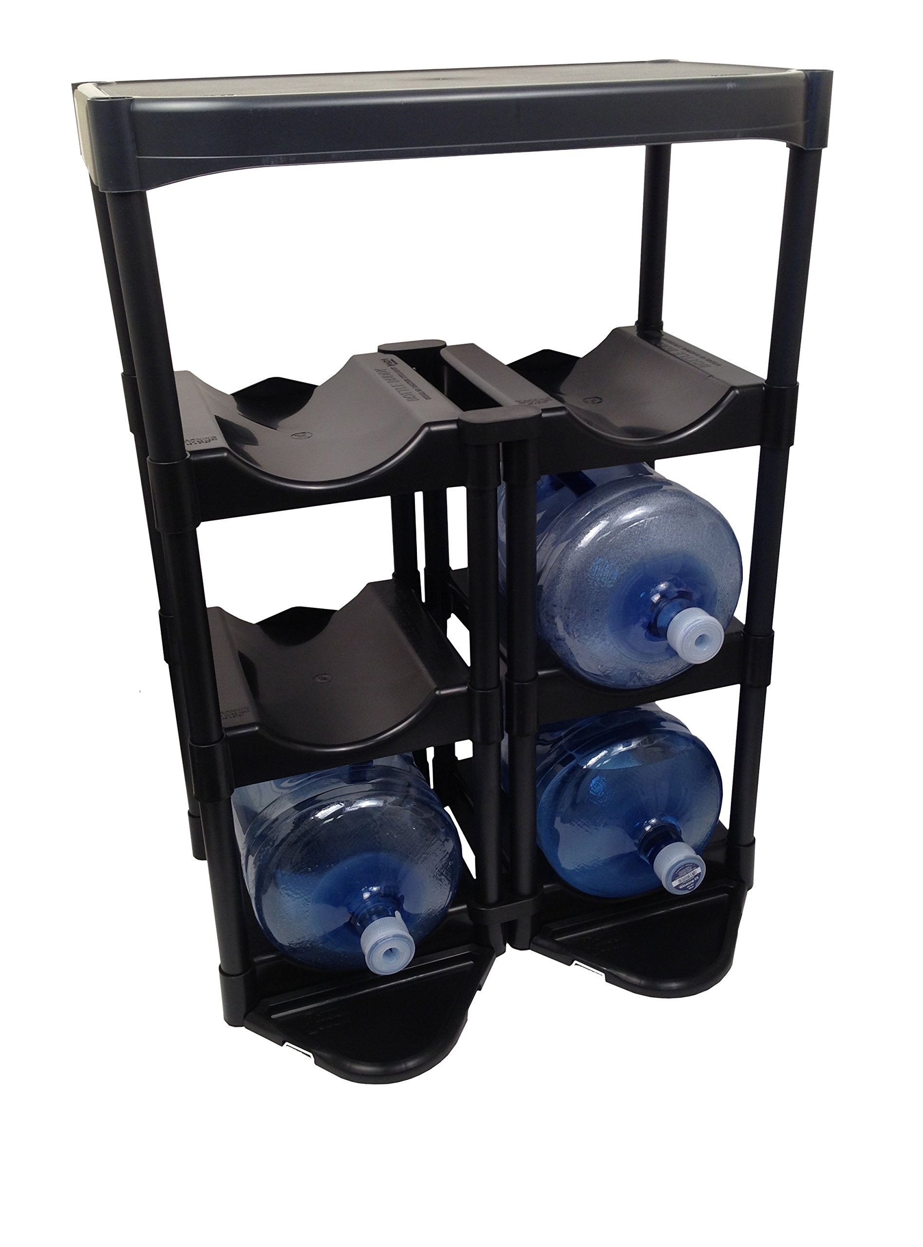 Bottle Buddy Water Racks - 3 and 5 Gallon Bottles I 6-Tray Jug Storage System I Floor Protector for Drips I Free-Standing Organizer for Home, Office, Kitchen, Warehouse I Black
