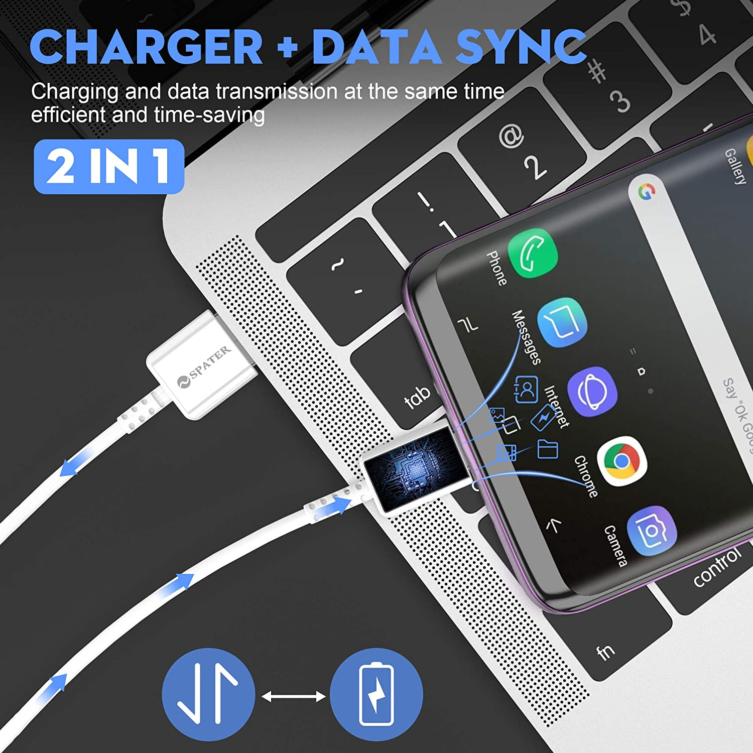Note8// Note9 Compatible with Samsung Galaxy S10// S8// S9 Spater Adaptive Fast Charging Wall Charger Kit Set with USB-C Cable White