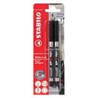 STABILO Write-4-all - Pochette de 2 marqueurs - Noir (encre permanente/pointe médium 0.7 mm)
