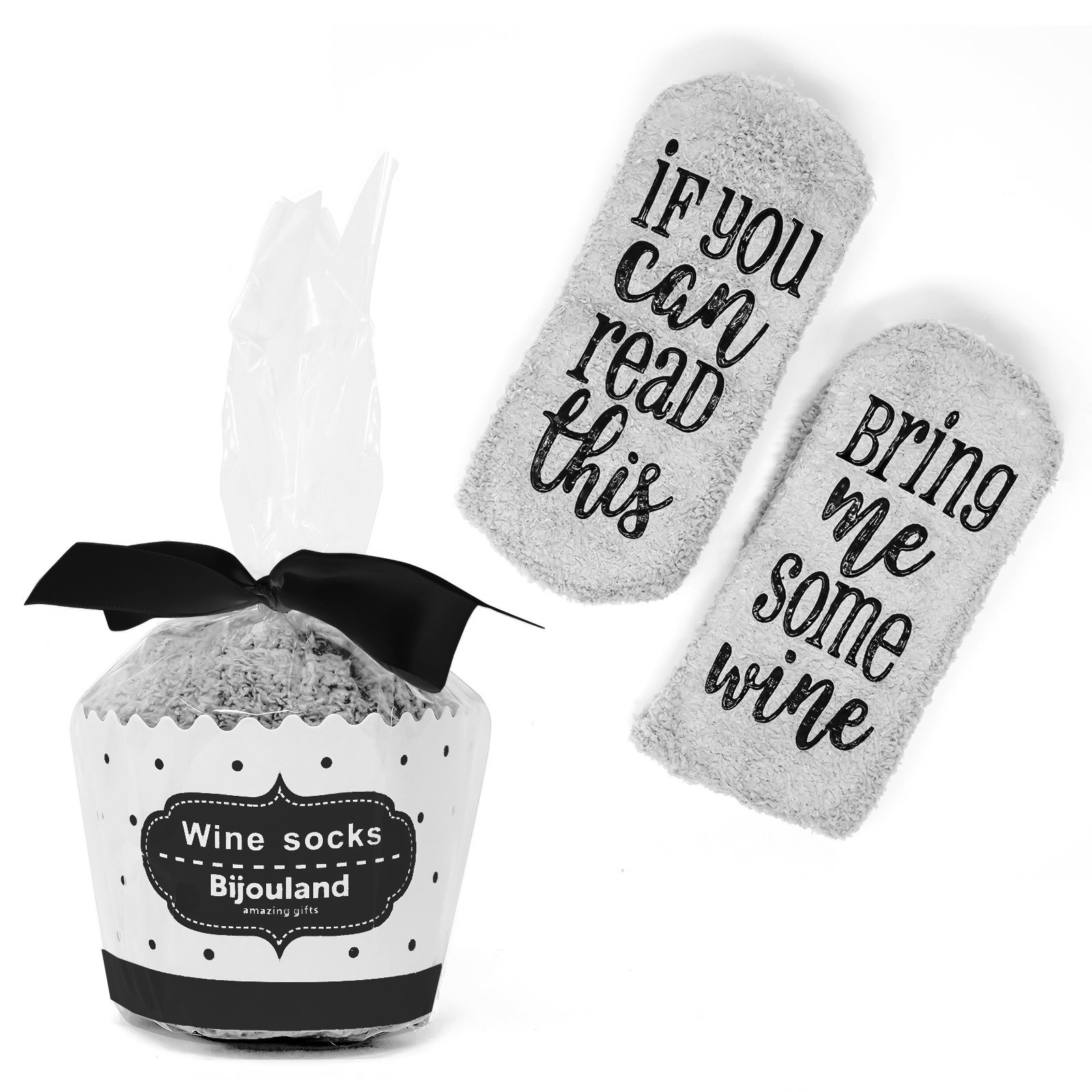 BijouLand - If You Can Read This Bring Me Some Wine, Fuzzy Wine Socks For Women, Wine Lovers gift with Cupcake Package (Gray)