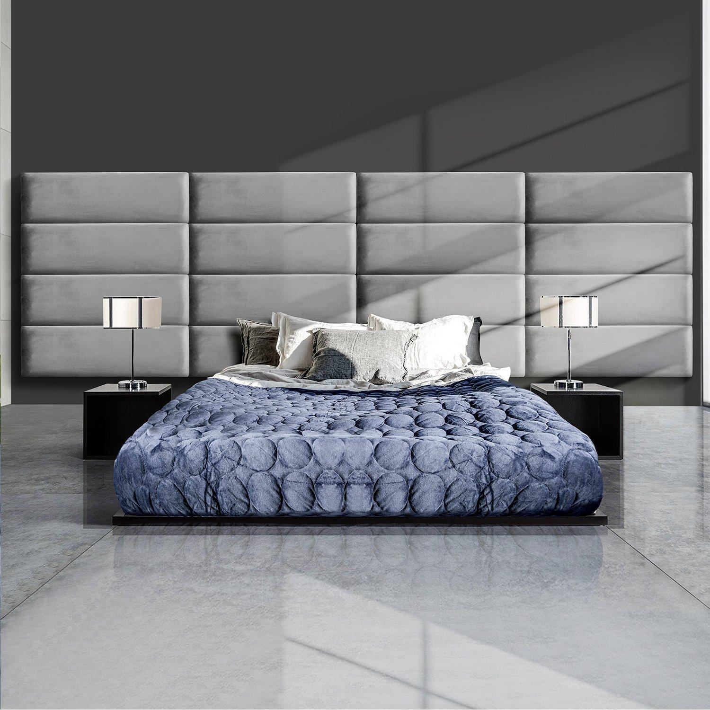 GreenForest Upholstered Headboard Full/Queen Size Velvet Headboard Accent Wall Panels Pack of 4 Tiles for Bedroom, Grey