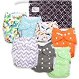 Nora's Nursery Baby Cloth Pocket Diapers (7 Pack) with 7 Bamboo Inserts and 1 Wet Bag