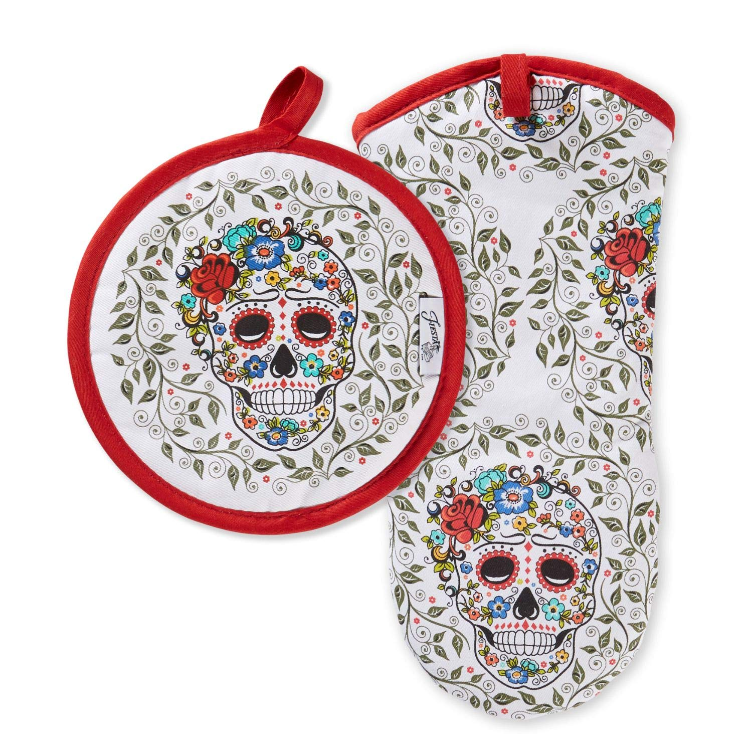 "Fiesta Skull & Vine Oven Mitt & Pot Holder, 6.5""x13"" 8""x8"", Multi"