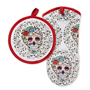 "Fiesta Skull & Vine Oven Mitt & Pot Holder, 6.5""x13"" 8""x8"", Multi"