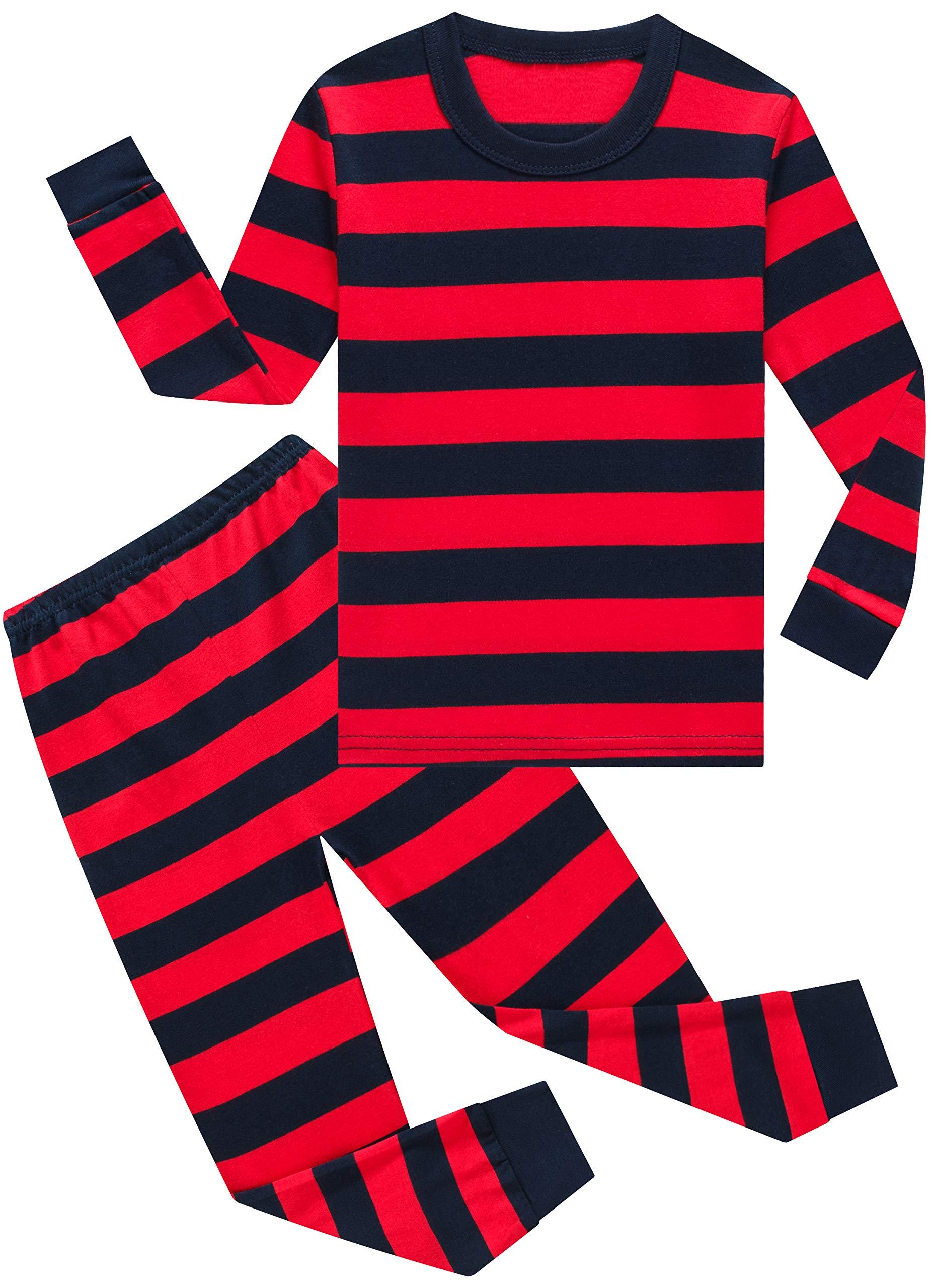 Little Boys Girls Cotton Pajamas Children Striped PJS Gift Set Kids Sleepwear Clothes
