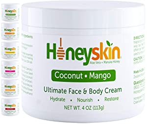 Organic Face and Body Cream Moisturizer - with Raw Manuka Honey, Shea Butter and Aloe Vera - Eczema, Acne, Redness and Dry Skin Treatment - Anti Aging and Wrinkles - Natural Coconut Mango Scent (4oz)
