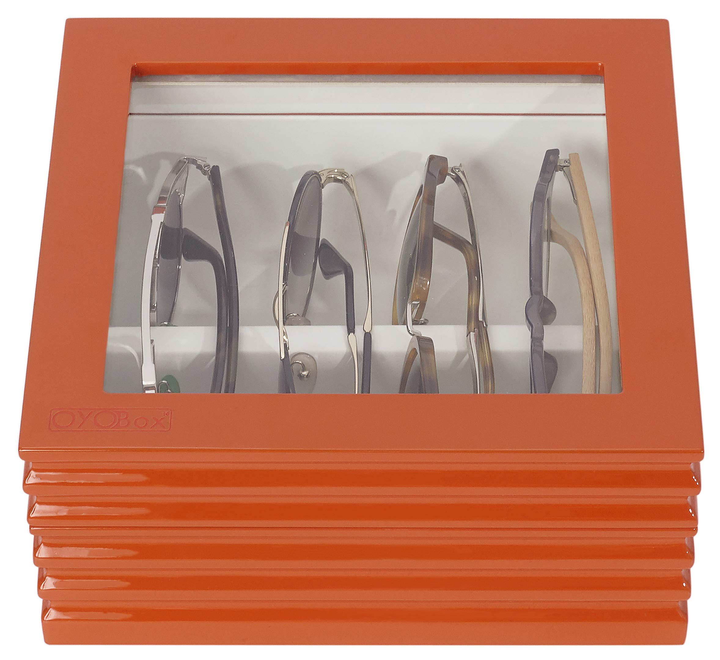OYOBox Maxi & Mini Luxury Eyewear Organizer, Lacquered Wood Box for Multiple Glasses + Sunglasses, Wave Collection (Orange Mini) by OYOBox