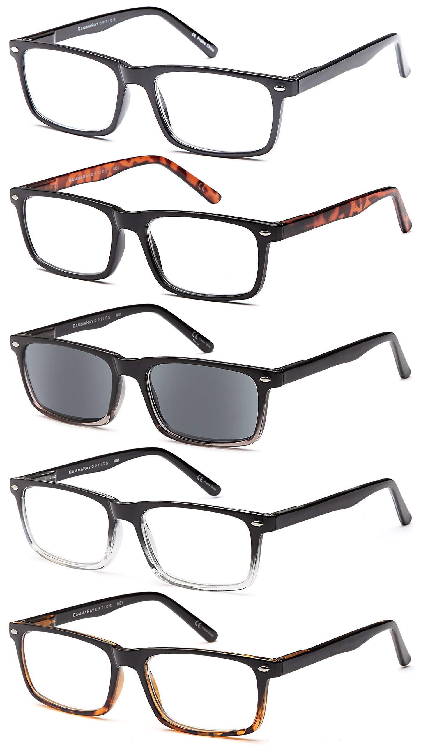 GAMMA RAY 5 Pairs Stylish Spring Loaded Readers Reading Glasses - 1.50x
