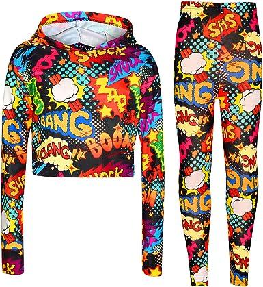 Kids Girls Wow Bang Boom Hooded Crop Top T Shirt Legging Lounge Wear Set 7-13 Yr
