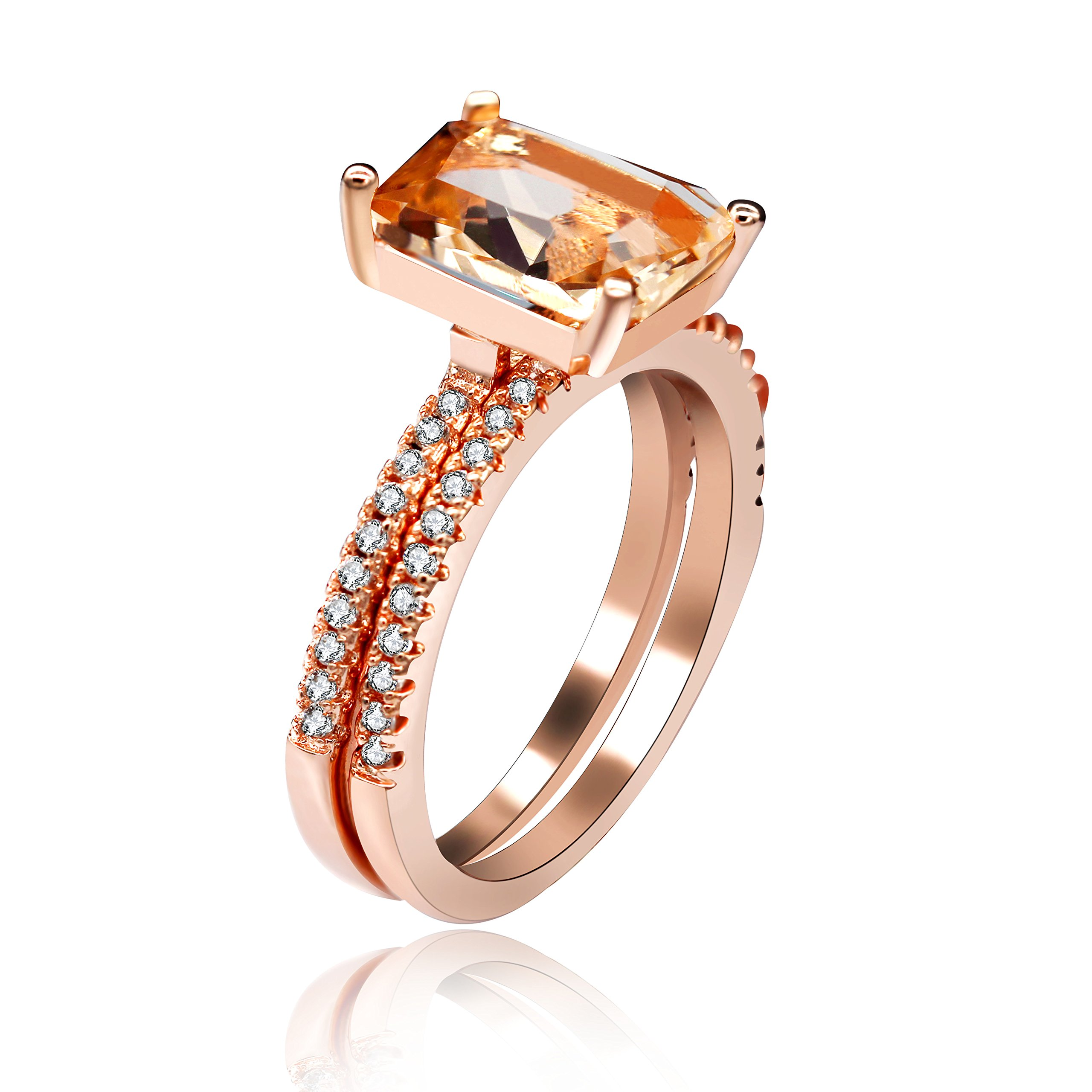 Uloveido 2 pcs Set Emerald-Cut Rectangle Yellow Cubic Zirconia Fashion Birth-Stone Stacking Rings with Round Brilliant CZ Eternity Band (Size 8) Y422