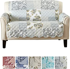 """Patchwork Scalloped Printed Furniture Protector. Stain Resistant Loveseat Cover. (54"""" Loveseat, Grey)"""