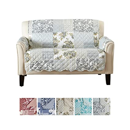 Patchwork Scalloped Printed Furniture Protector. Stain Resistant Loveseat Cover. (54
