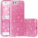 EGO ® Hülle Glitzer Schutzhülle für Huawei P10, Pink Back Case Bumper Glänzend Transparente TPU Bling Weiche Glamour Handy Cover Lipgloss