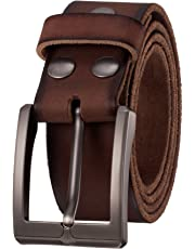 "KEEPBLANCE Men's Classic Casual Jean Style Strong Built Genuine Leather Belt (1.5"" Width) …"
