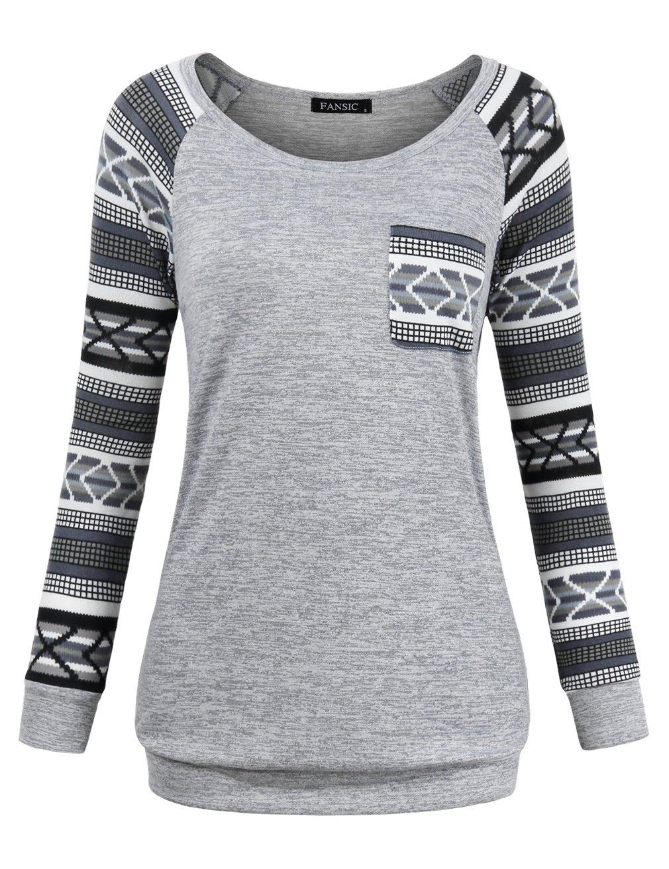 Knit Sweater for Women,FANSIC Jersey Shirt Swing Tunic Tops for Leggings Plus Size Lightweight Sweatshirts X-Large Gray