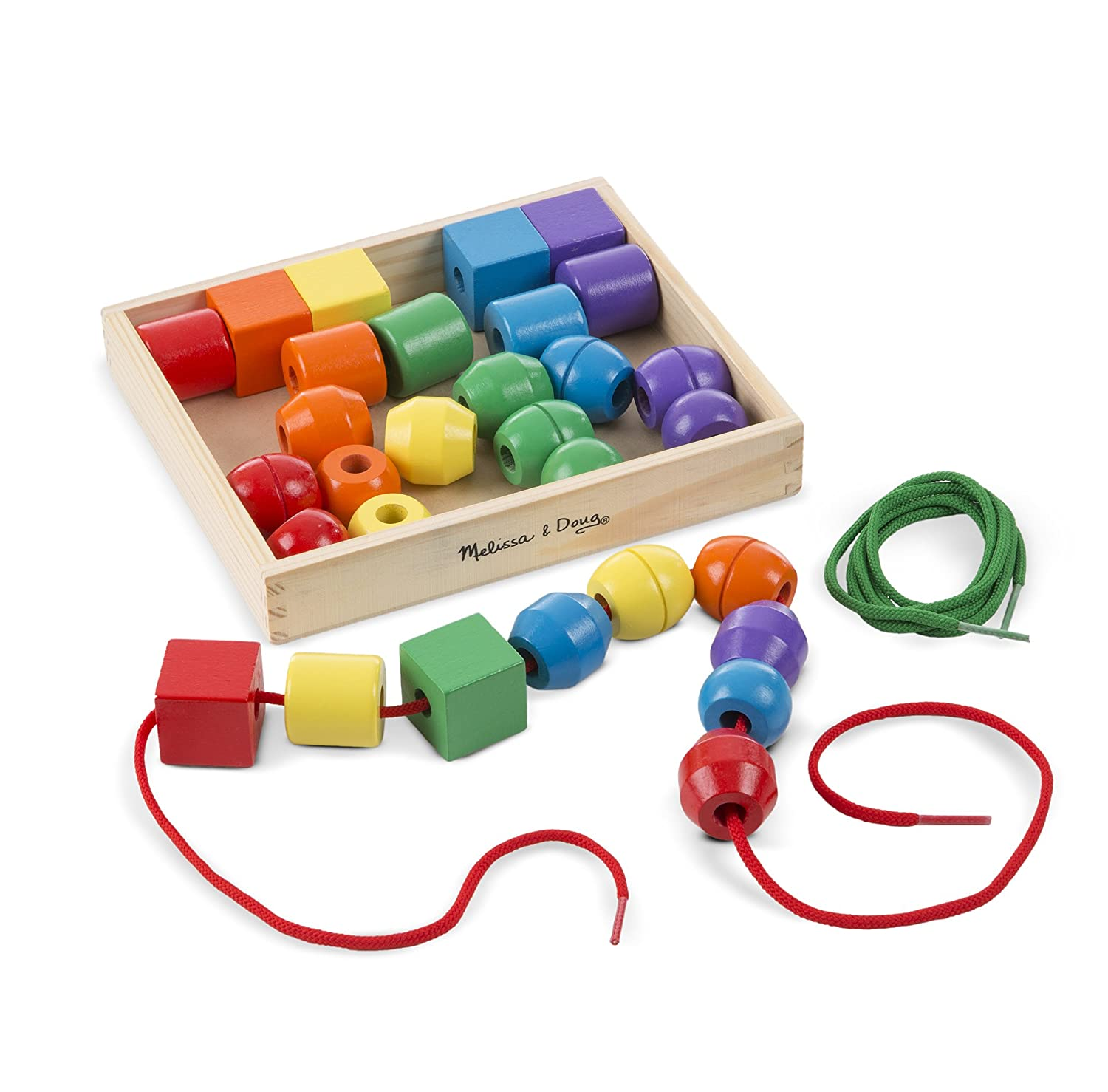 Melissa & Doug Primary Lacing Beads - Educational Toy With 30 Wooden Beads and 2 Laces James R. Aikens Melissa and Doug 544