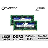 Timetec Hynix IC 16GB Kit (2x8GB) DDR3L 1600MHz PC3-12800 Unbuffered Non-ECC 1.35V CL11 2Rx8 Dual Rank 204 Pin SODIMM Laptop Notebook Computer Memory RAM Module Upgrade (16GB Kit (2x8GB))
